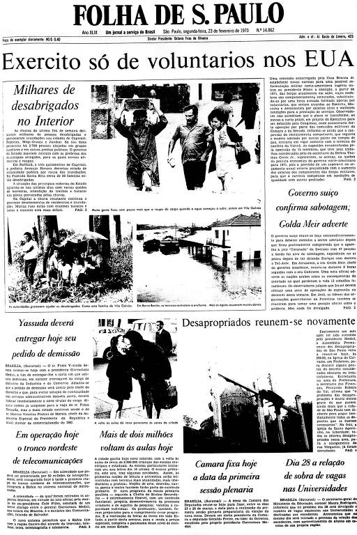 Primeira Página da Folha de 23 de fevereiro de 1970