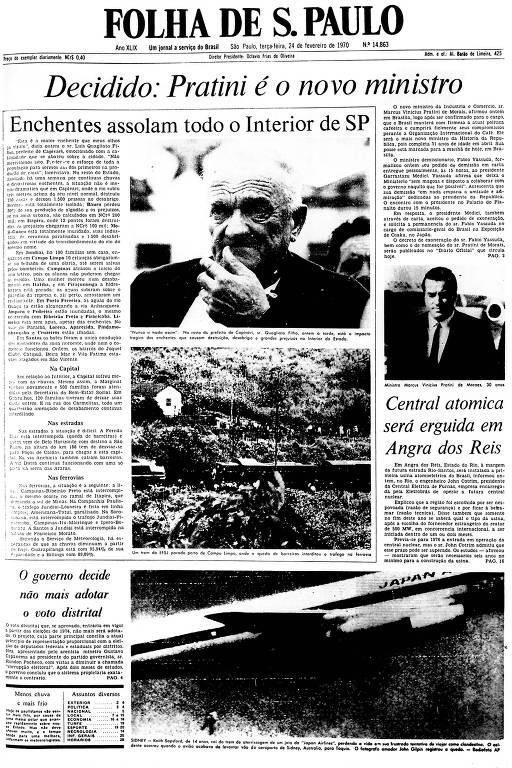 Primeira Página da Folha de 24 de fevereiro de 1970