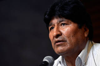 Bolivia's former President Evo Morales speaks during a news conference in Buenos Aires