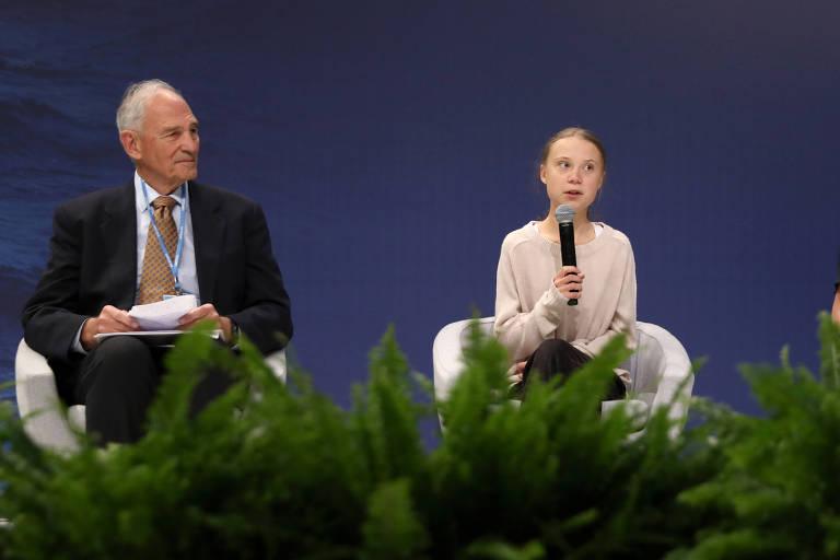 William Moomaw e a ativista ambiental Greta Thunberg na COP25, em Madri, em dezembro de 2019
