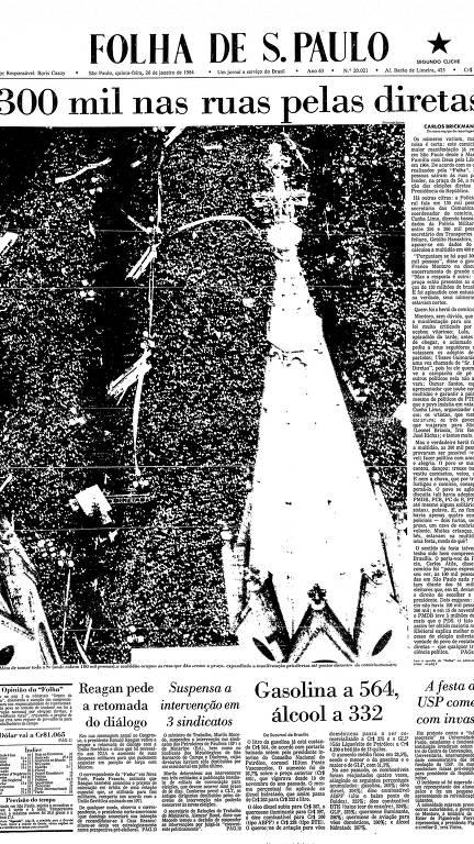 """Capa da Folha de 26 de janeiro de 1984. O fotógrafo Fernando Santos registrou multidão de manifestantes concentrada na Praça da Sé durante manifestação pelas """"Diretas-Já"""" no dia 25 de janeiro de 1984"""