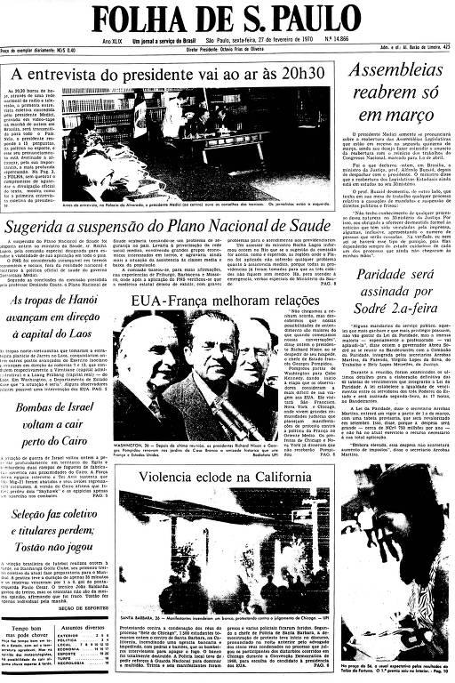 Primeira Página da Folha de 27 de fevereiro de 1970