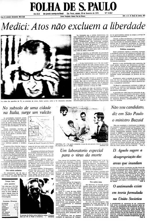 Primeira Página da Folha de 28 de fevereiro de 1970