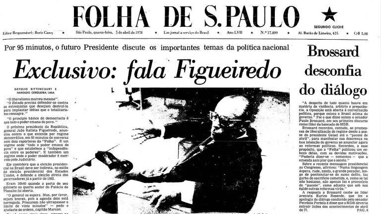 """Reprodução da capa da Folha com foto de Figueiredo e a chamada """"Exclusivo: Fala Figueiredo"""""""