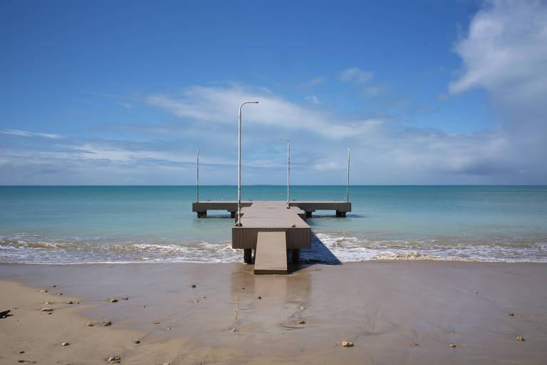 Dock na ilha britânica Anguilla, no Caribe