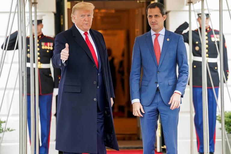 O autoproclamado presidente interino da Venezuela, Juan Guaidó, é recebido com honras na Casa Branca pelo presidente americano, Donald Trump