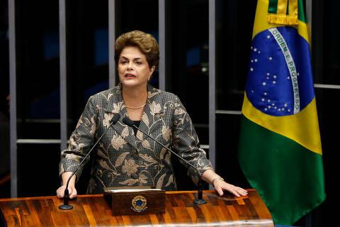 BRASILIA, DF,  BRASIL, 29-08-2016, 09h00: A presidente afastada Dilma Rousseff faz sua defesa ne sessão para votação do julgamento final do processo de impeachment, no plenário do senado. O presidente do STF Ministro Ricardo Lewandowski preside a sessão, ao lado do presidente do senado senador Renan Calheiros (PMDB-AL). O ex-presidente Lula assiste das galerias do senado, ao lado de convidados da presidente Dilma.  (Foto: Pedro Ladeira/Folhapress, PODER)