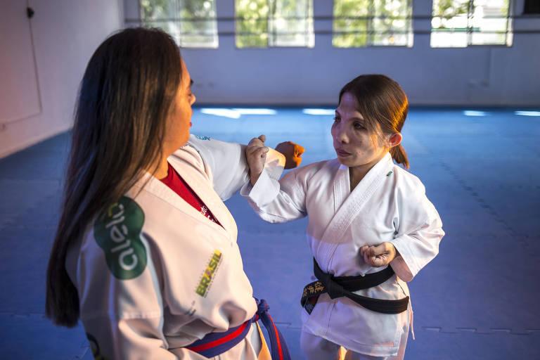 Monica e Natane são instrutoras de artes marciais no Instituto Olga Kos, em São Paulo