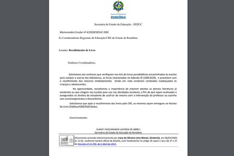 lista e memorando de livros a serem recolhidos em Rondônia