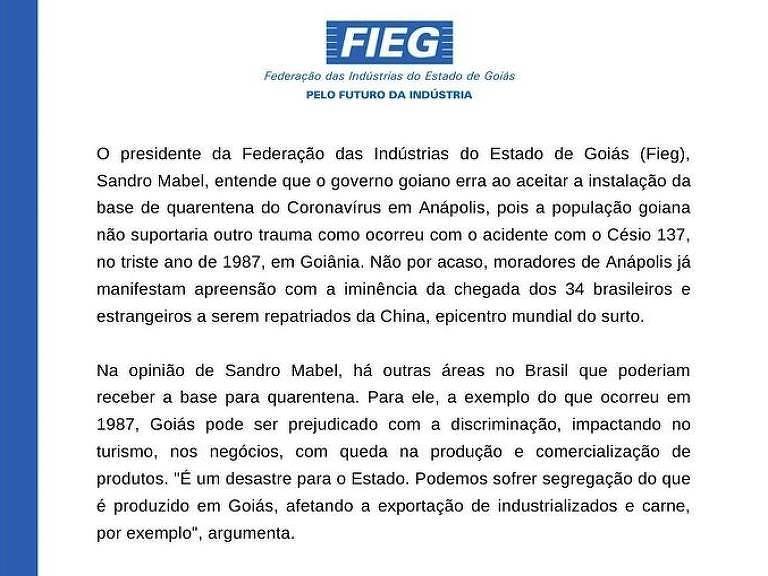 Nota da Federação de Industrias de Goiás diz que quarentena de brasileiros evacuados de Wuhan no estado é um desastre