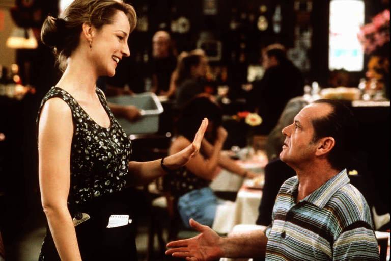 A atriz Helen Hunt e o ator Jack Nicholson em cena do filme 'Melhor É Impossível', em que o ator interpreta um personagem com transtorno obsessivo-compulsivo