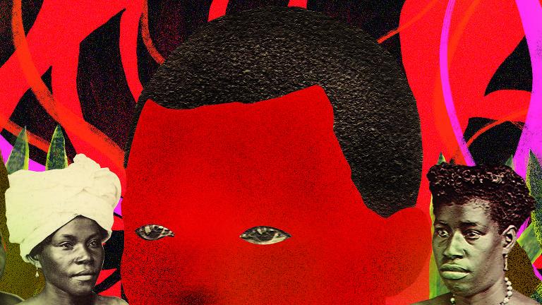 Fundo vermelho com intervenções de cores quente com 5 pessoas em destaque