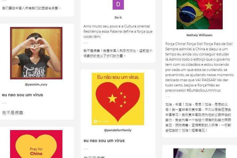 Site reúne mensagens de apoio de brasileiros a chineses durante surto de coronavírus