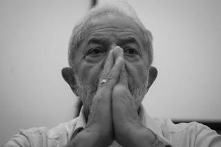 O ex-presidente Lula durante reunião do diretório nacional do PT