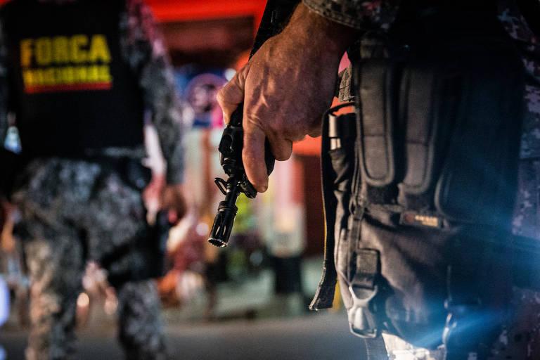 Ronda da Força Nacional de Segurança Pública em Ananindeua, na região metropolitana de Belém, uma das cinco cidades do programa Em Frente, Brasil