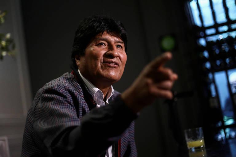 Evo Morales durante entrevista realizada na Cidade do México