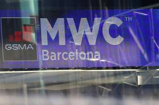 Logo of MWC20 (Mobile World Congress) is pictured in Barcelona