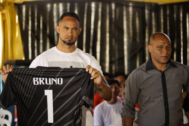 Bruno durante apresentação no Poços de Caldas, time da terceira divisão do futebol mineiro, em 2019