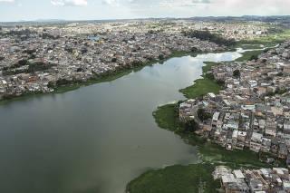 Vista aérea da Represa Billings, em São Paulo