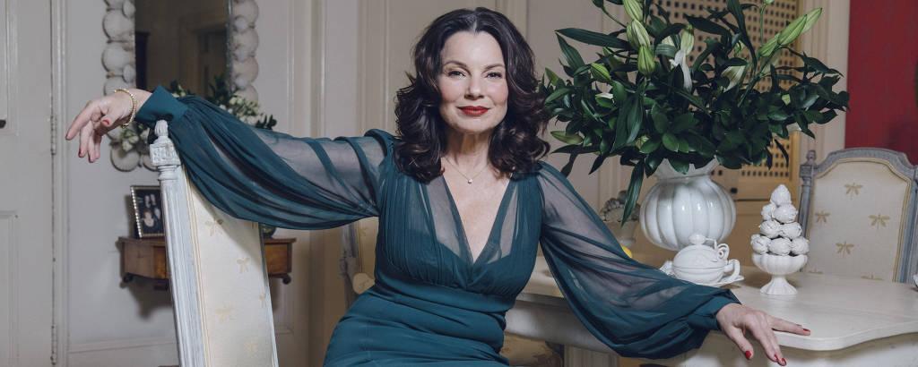 A atriz Fran Drescher em sua casa em Nova York