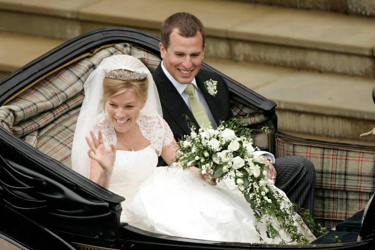 Foto de arquivo do casamento do neto da rainha Elizabeth Peter Phillips com Autumn Kelly no sul da Inglaterra