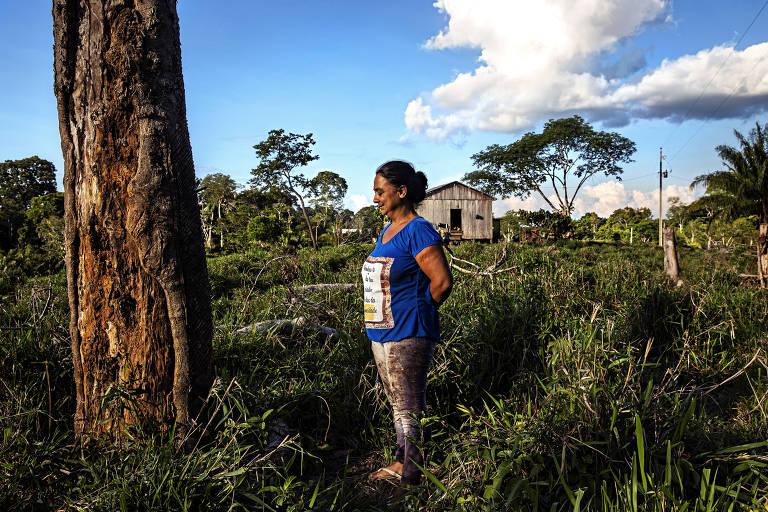 A extrativista Luzineide Marques da Silva observa uma seringueira perto da sua casa no seringal Albracia
