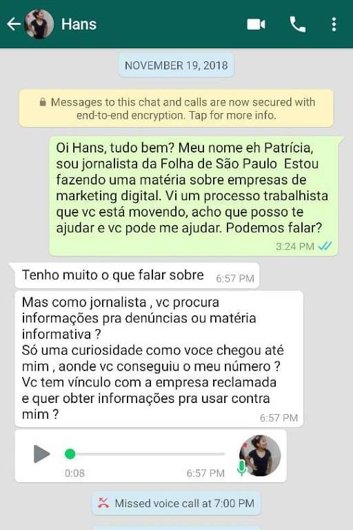 Primeira troca de mensagens entre a reportagem da Folha e Hans River do Rio Nascimento