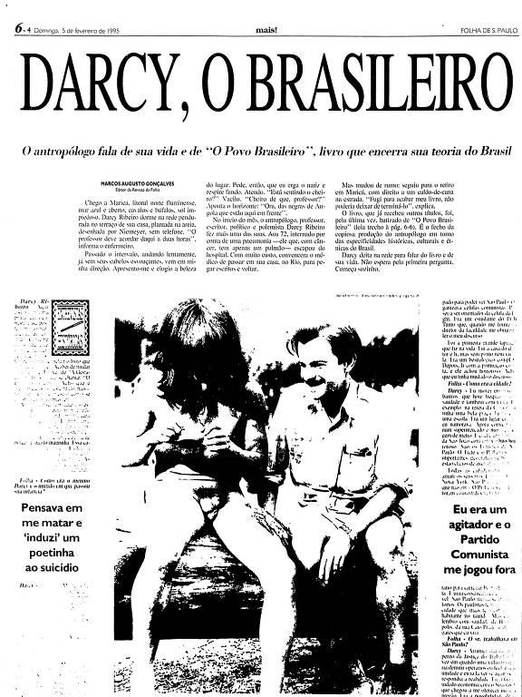 Reprodução de entrevista com Darcy Ribeiro em 5 de fevereiro de 1995