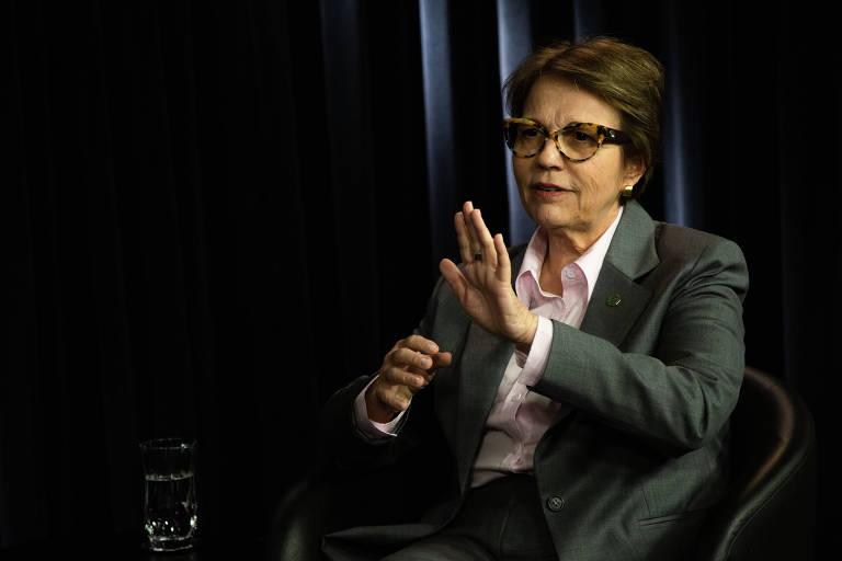 Tereza Cristina, Ministra da Agricultura, durante entrevista para a Folha e UOL no estúdio em Brasilia