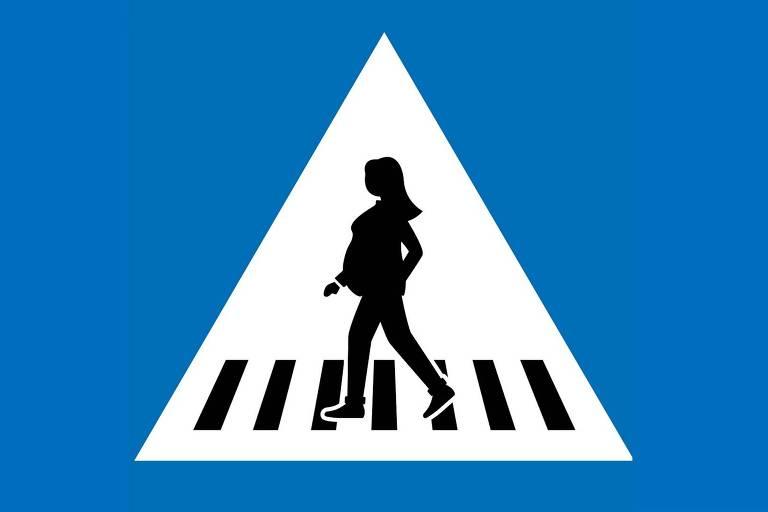 Placa de trânsito com figura feminina que está sendo adotada em Genebra