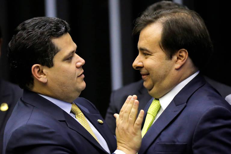 Davi Alcolumbre e Rodrigo Maia, em fevereiro de 2020