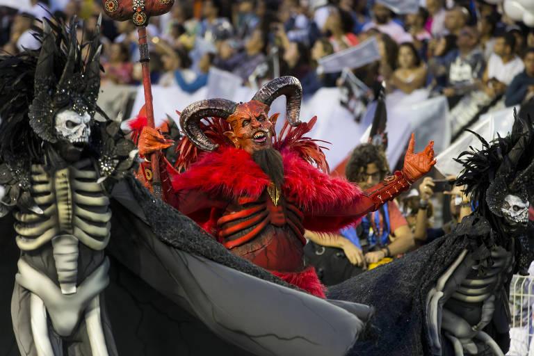 Desfile da escola de samba Gaviões da Fiel em São Paulo no Carnaval de 2019