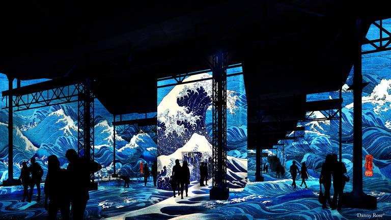 Projeção que integra mostra na Japan House