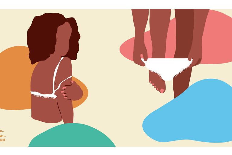 Ilustração de duas cenas. Em uma, uma mulher negra vestindo um top branco está de costas com o rosto levemente virado para frente. Na outra, há as pernas da mulher com uma levemente levantada ao tirar uma calcinha branca. Há manchas coloridas no fundo
