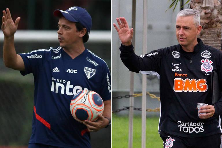 Qualquer que seja o resultado do Majestoso, Fernando Diniz (à esq.) e Tiago Nunes serão elogiadíssimos pela mídia-tiete