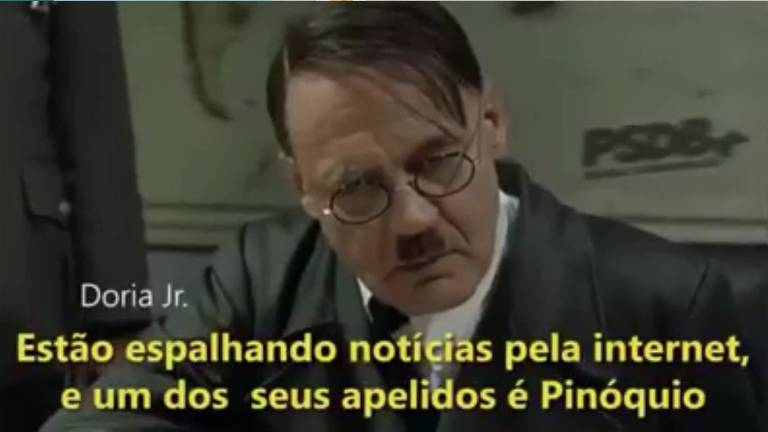 Trecho de vídeo com montagem que retrata o governador João Doria (PSDB) como Adolf Hitler. Vereador Camilo Cristófaro foi condenado em primeira instância por postar conteúdo, mas inocentado na segunda.