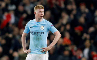 FILE PHOTO: Manchester City's Kevin De Bruyne in Champions League action at Etihad Stadium, Manchester, Britain - April 10, 2018
