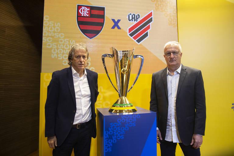 Jorge Jesus e Dorival Júnior, técnicos de Flamengo e Athletico-PR, que decidirão a Supercopa
