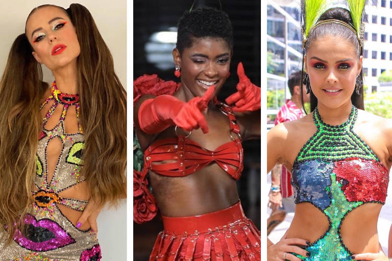 Paolla Oliveira, Érika Januza e Paloma Bernardi aproveitam o Carnaval de rua de SP