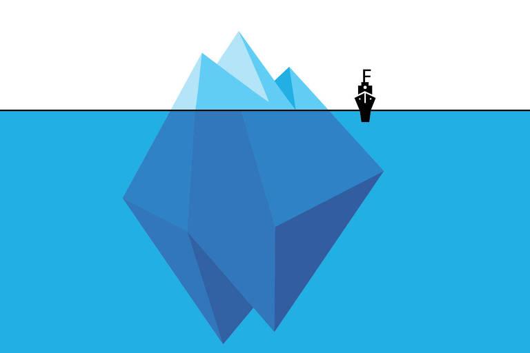 Imagem mostra um iceberg apenas com a ponta para fora d'água e um navio se aproximando dele