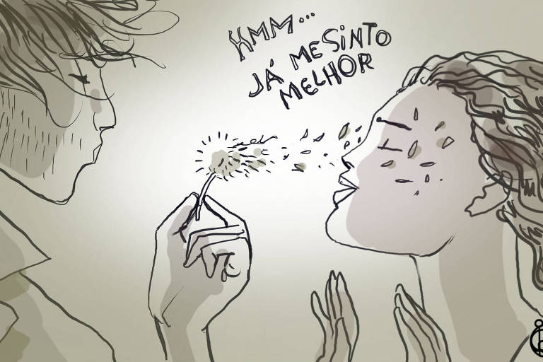 """Ilustração de um homem assoprando um dente-de-leão na direção do rosto de uma mulher. Ela está com os olhos fechado e os cabelos esvoaçantes, pequenos pedaços da planta estão em seu rosto. Entre os dois, está escrito """"HMM... JÁ ME SINTO MELHOR"""""""
