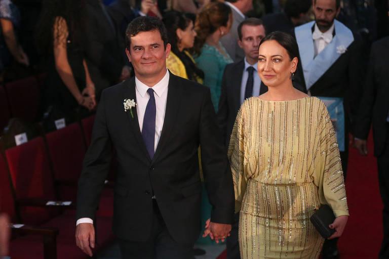 O ministro da Justiça, Sergio Moro, e sua esposa, Rosangela Moro
