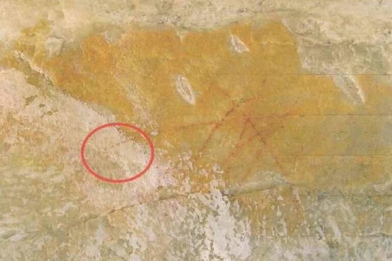 Área marcada mostra pintura que encobriu arte rupestre