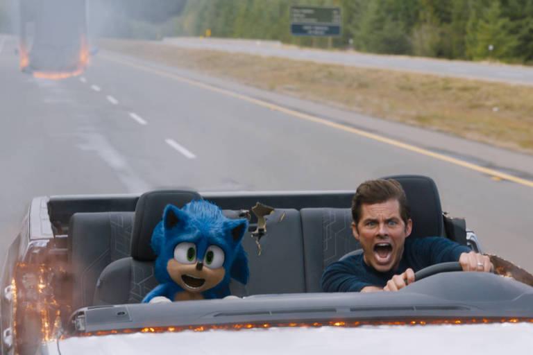 Sonic (Ben Schwartz) e James Marsden em 'Sonic - O Filme'