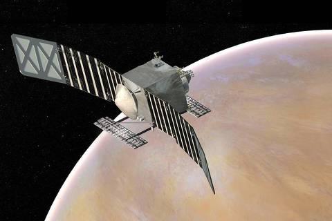 Concepção artística da sonda Veritas em órbita de Vênus