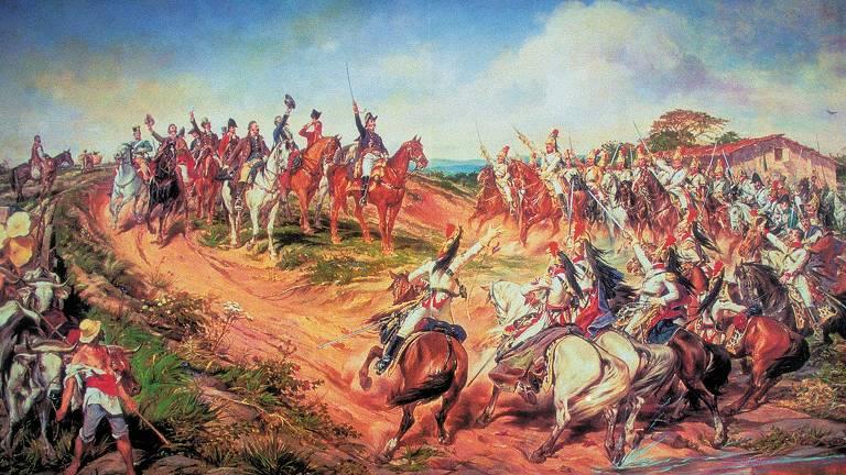 """""""Independência ou Morte"""", obra de 1888 feita por Pedro Américo (1843-1905), representa D. Pedro I no momento do grito do Ipiranga, em 7 de setembro de 1822"""