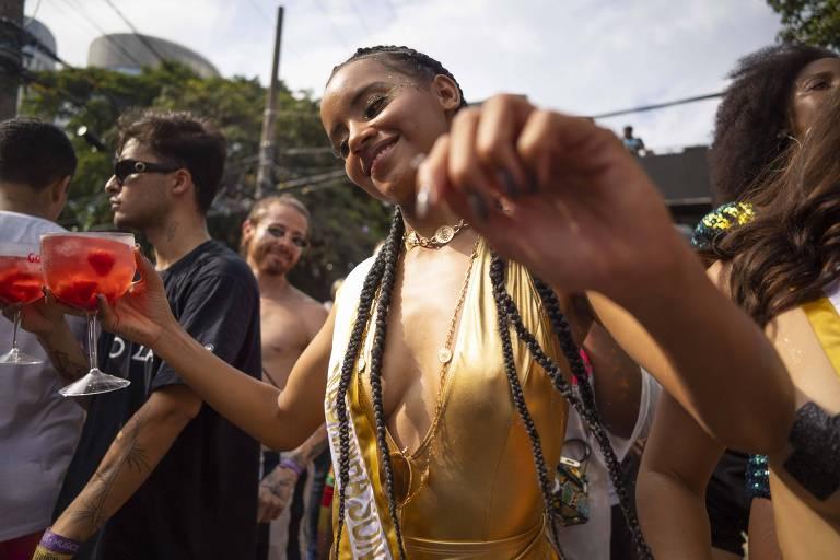 Gleici Damasceno no bloco Sonzeira, na zona sul de São Paulo