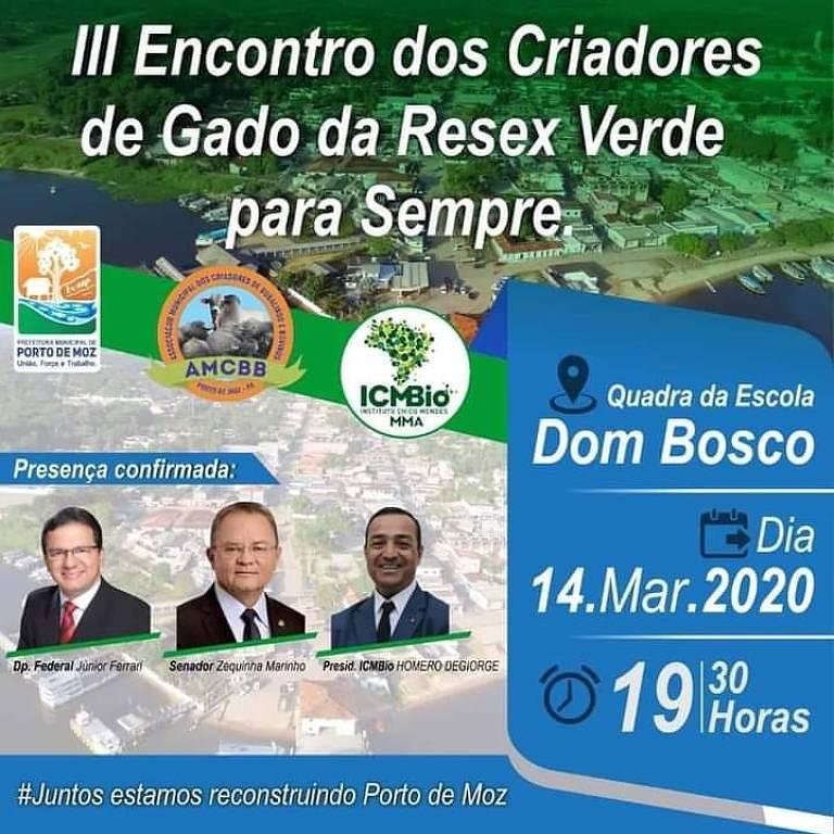 Imagem que mostra a participação do presidente do ICMBio, Homero Cerqueira, em evento de pecuaristas