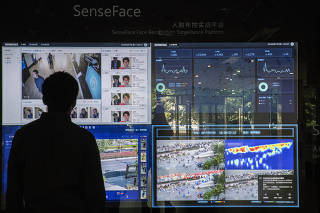 A demonstration of facial recognition technology from the artificial intelligence company SenseTime in Shanghai.