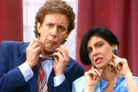 Brega & Chique: Rafaela (Marilia Pera  e Montenegro ( Marco Namini ) olham rugas no espelho. Credito Reproduçao TV Globo
